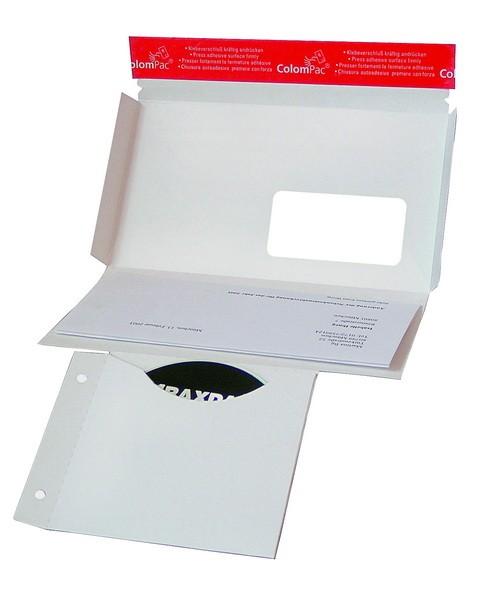 Pochette pour l'envoi de supports de données électroniques an carton rigide blanc CP040.04