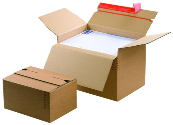 Pack de 2 cartons à fond automatique de hauteur variable 238x170x60-130mm
