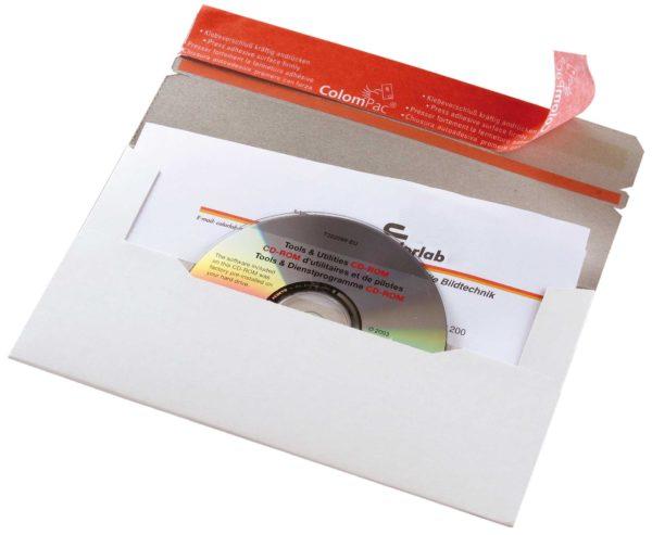 Pochette pour l'envoi de supports de données électroniques en carton rigide blanc à ouverture latérale avec fenêtre 222x123x3